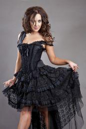 Ophelie corset dress in black taffeta