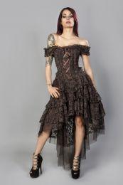 Ophelie burlesque corset dress in brown king brocade