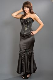 Panel long mermaid style skirt in black satin