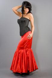 Panel long burlesque skirt in red satin