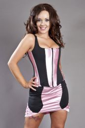 Panty clubwear mini skirt in pink satin