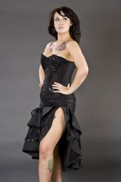 Paris overbust steel boned corset in black taffeta