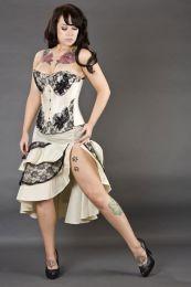 Paris overbust steel boned corset in cream taffeta