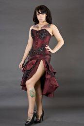 Paris overbust tight lacing corset in burgundy taffeta