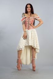 Gypsy high low victorian gothic corset dress in coral cream jacquard with cream satin lace overlay skirt, front zip and military style silver buttons.