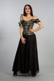 Paula victorian gothic corset dress in gold king brocade with black satin lace overlay skirt, front zip and military style silver buttons.