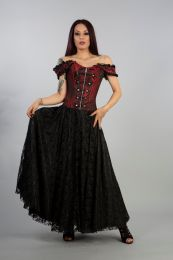 Paula victorian gothic corset dress in red king brocade with black satin lace overlay skirt, front zip and military style silver buttons. The dress has off shoulder straps, laces and modesty panel at rear. Perfect for special occasions.