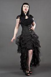 Petra long line steel boned underbust corset in black scroll brocade