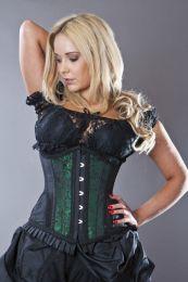 Petra long line steel boned underbust corset in green scroll brocade