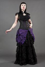 Petra long line steel boned underbust corset in purple scroll brocade