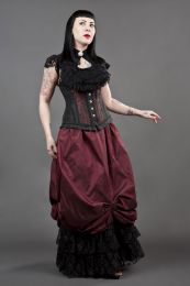 Petra long line steel boned underbust corset in red scroll brocade