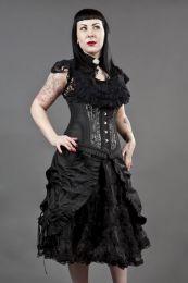 Petra long line steel boned underbust corset in silver scroll brocade