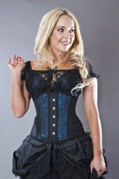 Petra long line steel boned underbust corset in turquoise scroll brocade
