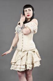 Petra long line underbust corset in cream taffeta and cream lace overlay