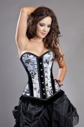Petra overbust body shaping corset in silver satin flock