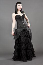 Petra overbust burlesque corset in black scroll brocade