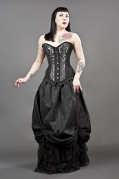 Petra overbust burlesque corset in silver scroll brocade
