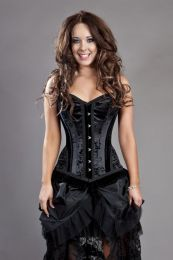 Petra overbust lace up corset in black satin flock
