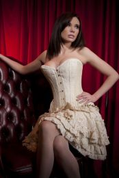 Petra overbust long line corset in cream taffeta and cream lace overlay