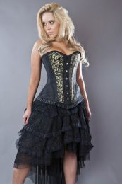 Petra overbust long line corset in gold scroll brocade