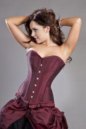 Petra overbust steel boned corset in burgundy taffeta