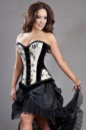 Petra overbust steel boned corset in cream satin flock