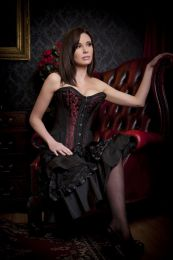 Petra overbust steel boned corset in red scroll brocade