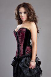 Petra overbust waist training corset in burgundy satin flock