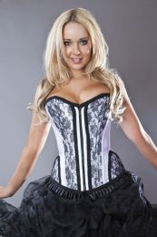 Petra zip overbust burlesque corset in white satin and black lace overlay