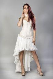 Petra zip overbust burlesque corset in cream king brocade