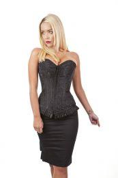 Petra zip overbust burlesque corset in black king brocade