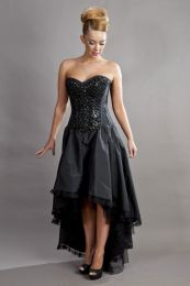 Phoenix maxi prom dress in black taffeta