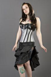 Pinup knee length burlesque skirt in black taffeta