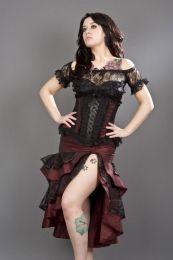 Pinup knee length burlesque skirt in burgundy taffeta