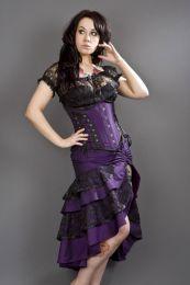 Pinup knee length burlesque skirt in purple taffeta
