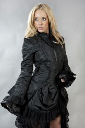 Pirate coat for women in black scroll brocade