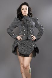 Pirate ladies gothic jacket in black and white stripes