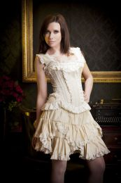 Princess overbust corset with straps in cream taffeta