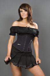 Punk black and purple striped underbust corset