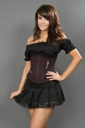 Punk black and red striped underbust corset
