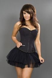 Punk overbust black and purple striped corset