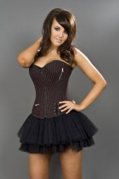 Punk overbust black and red striped corset