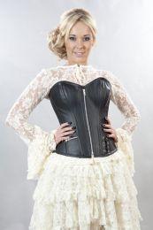 Punk overbust corset in black matte vinyl