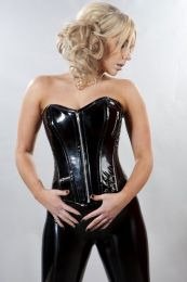 Punk overbust corset in black PVC