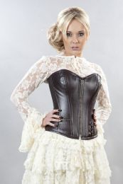 Punk overbust corset in brown matte vinyl