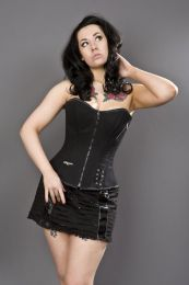 Punk overbust zip up corset in black twill
