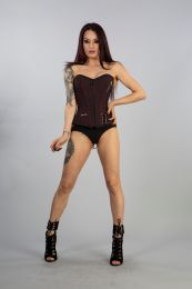 Punk overbust corset in red stripe with side zip pockets. Zip fastening, laces and modesty panel at rear.