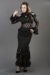 Queen long sleeve gothic top in black lace
