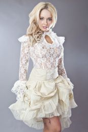 Queen victorian vintage top in cream lace