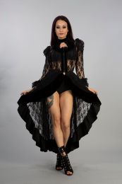 Queen victorian gothic jacket in black lace with black velvet flock frills. Zip front opening with velvet flock detail.